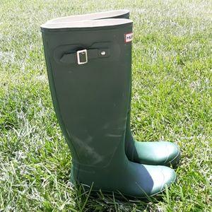 Hunter Tall Green Buckle Rubber Rain Boots Sz 8/39